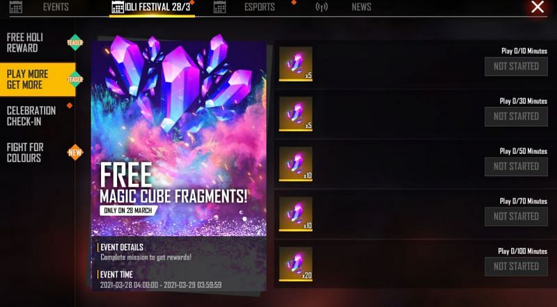 Play More Get More event in Free Fire
