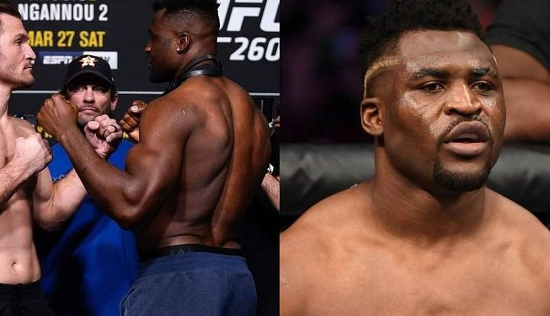 Stipe Miocic (left); Francis Ngannou (center and right)