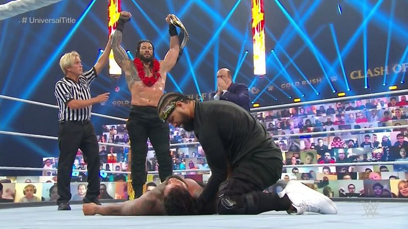 Jimmy Uso tried to save Jey Uso at Clash of Champions (above) and Hell in a Cell