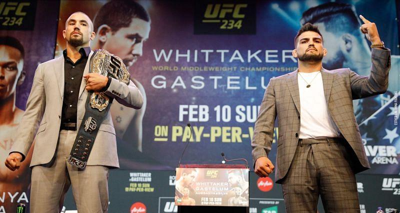 Robert Whittaker and Kelvin Gastelum were scheduled to fight at UFC 234 in 2019