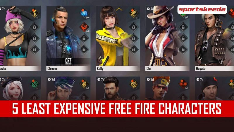 A look at the cheapest Free Fire characters
