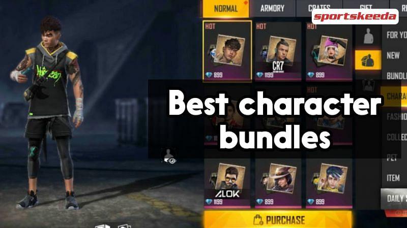 Characters in Free Fire offer their own exclusive bundles (Image via Sportskeeda)