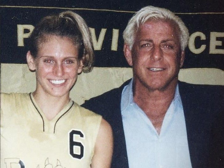 Charlotte Flair in high school with her father Ric Flair