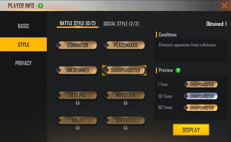 Sharpshooter tag in Free Fire