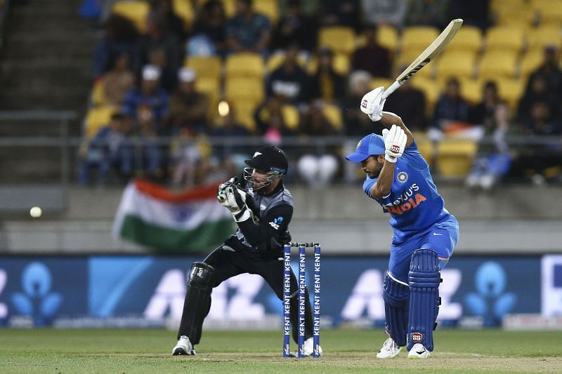 Manish Pandey batting against New Zealand