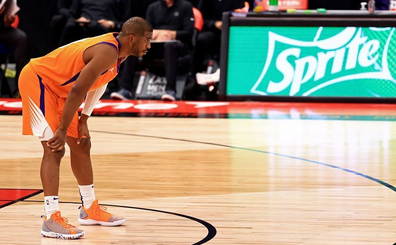 Chris Paul #3 looks on during a game against the Toronto Raptors. Photo: Mike Ehrmann/Getty Images.