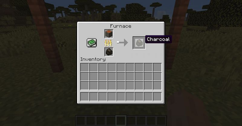 Smelting a wooden log at a furnace in Minecrafft, in order to get charcoal (Image via Minecraft)