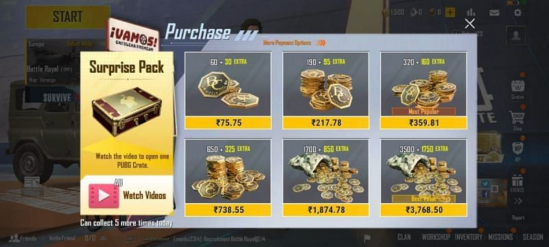 Players need to select their desired amount of top-up and confirm the purchase