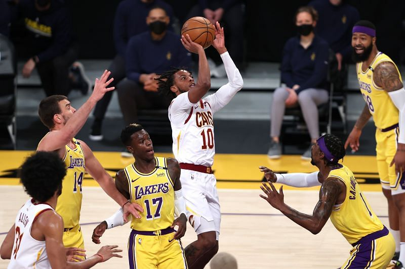 Cleveland Cavaliers youngster Darius Garland in NBA action against the LA Lakers