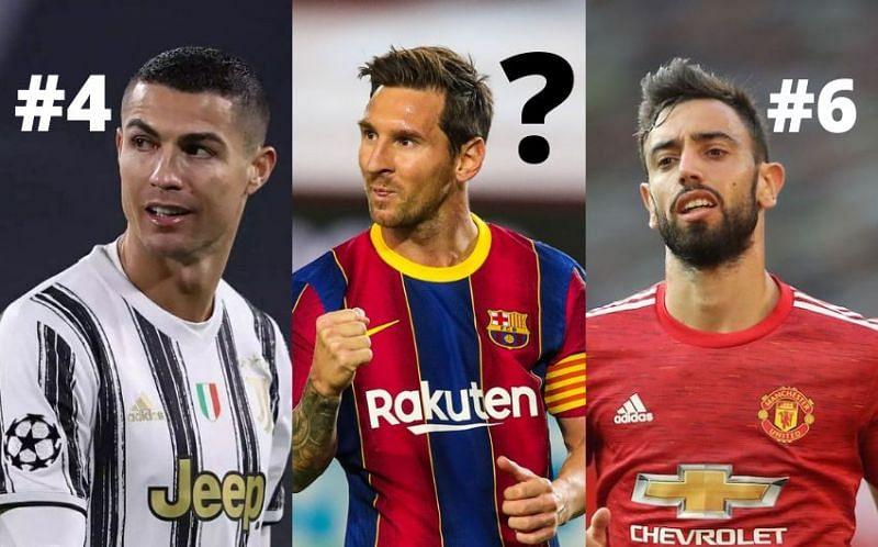 Cristiano Ronaldo, Lionel Messi, and Bruno Fernandes