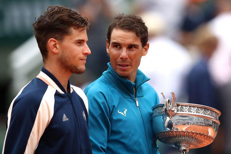 Dominic Thiem (L) and Rafael Nadal at Roland Garros 2018