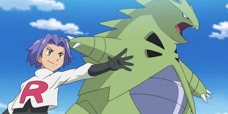 James of Team Rocket and his Tyranitar in the anime (Image via The Pokemon Company)