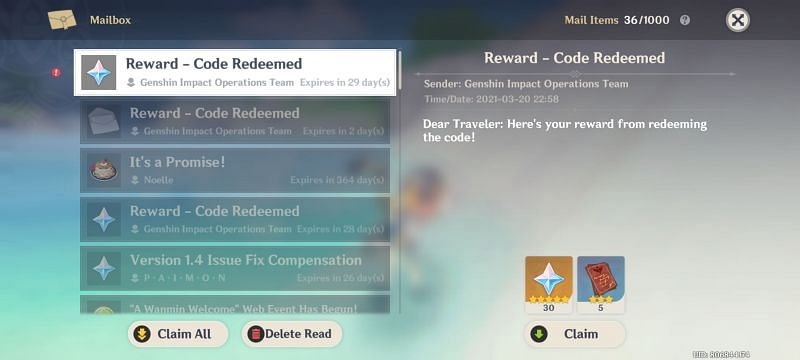 The rewards are received in the mail after successful redemption of the new Redeem codes in March 2021