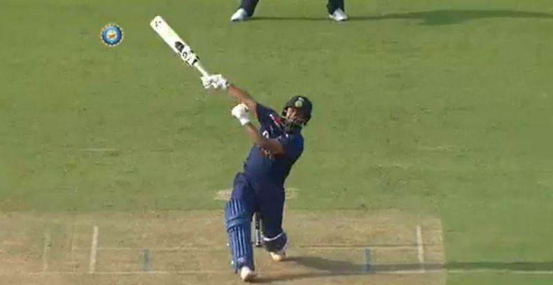 Rishabh Pant hitting a one-handed six. Pic: BCCI