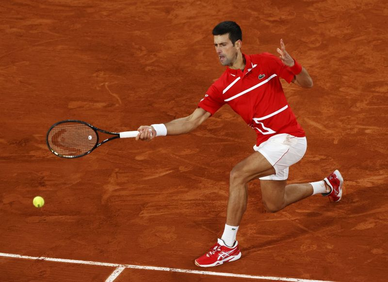 Novak Djokovic at the 2020 French Open