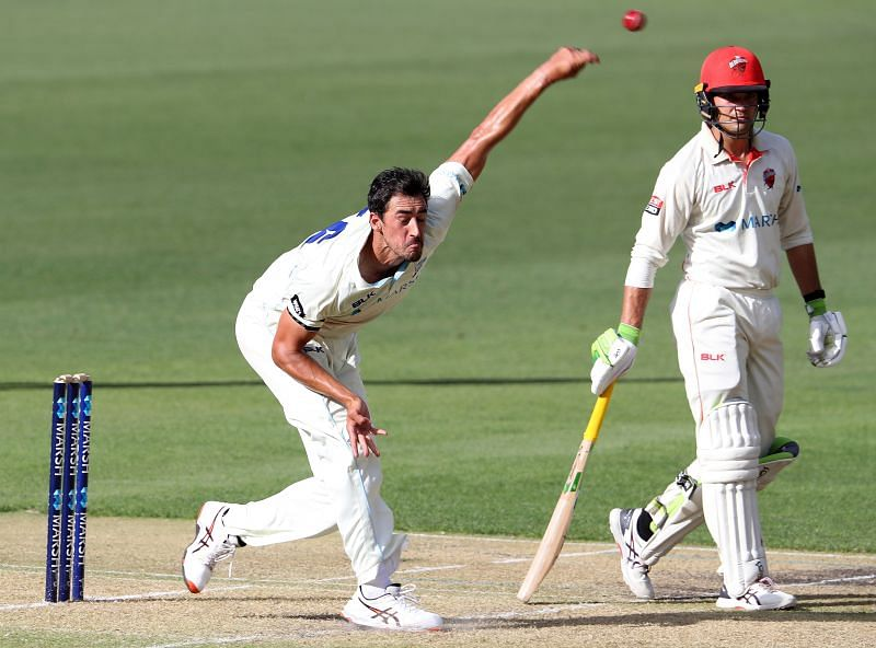 Mitchell Starc bowling in the Sheffield Shield