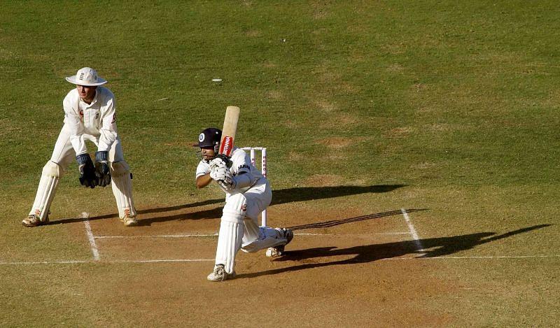 Rahul Dravid of India facing off against England at Ahmedabad