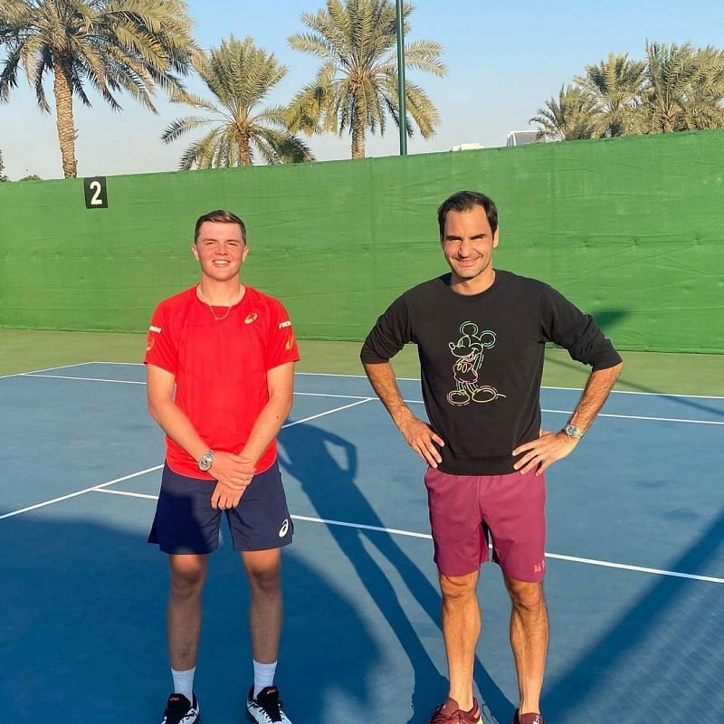 Dominic Stricker with Roger Federer (Image credit: Dominic Stricker