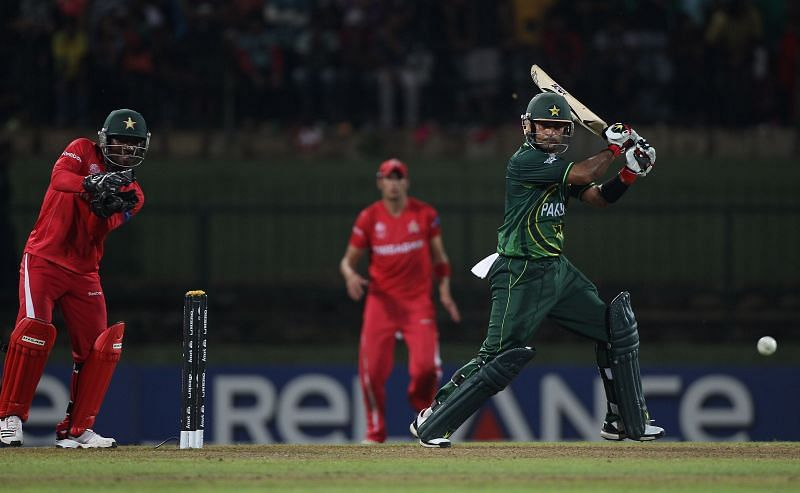 Action from a game between Pakistan & Zimbabwe.