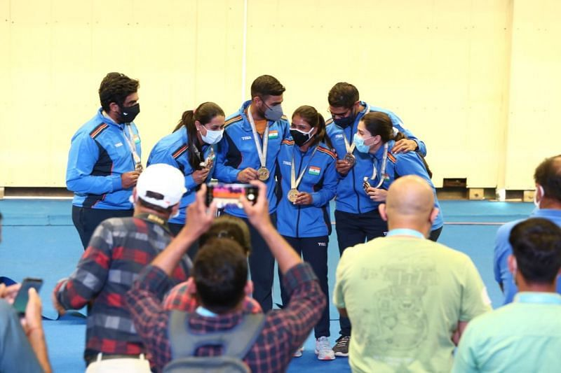 Final medal winners from India at ISSF World Cup 2021 (Image credits: ISSF)