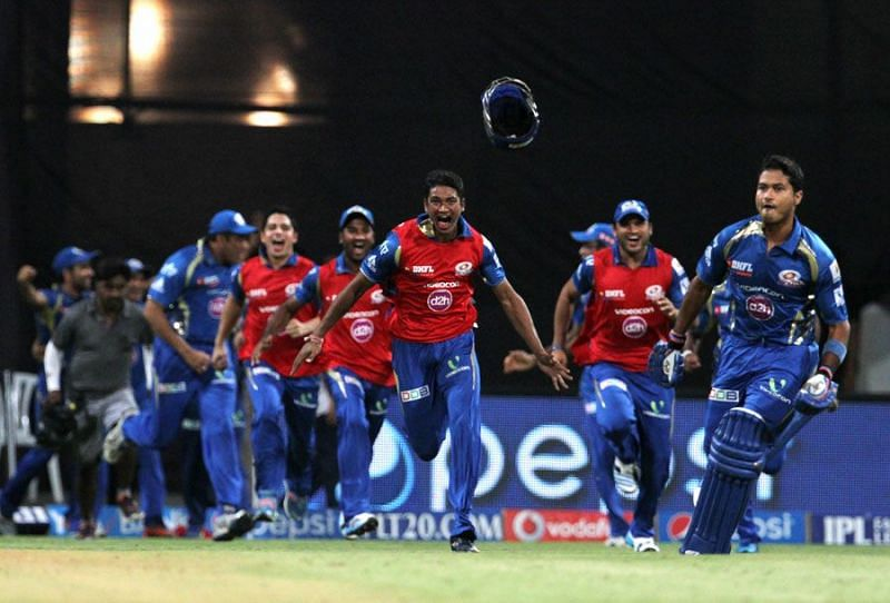 Aditya Tare exults after sealing an incredible win for MI.