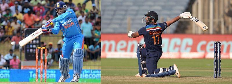 Virender Sehwag(L) and Rishabh Pant