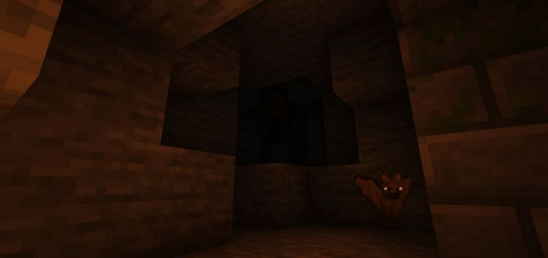 A bat being woken up from its long slumber (Image via Minecraft)