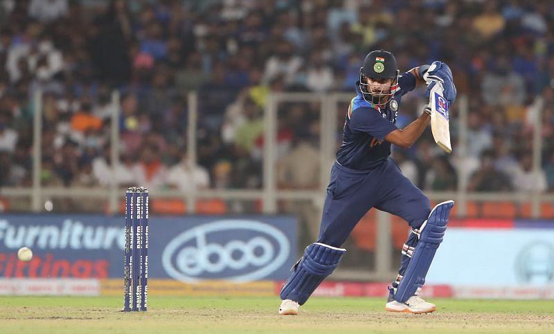 Shreyas Iyer in action during India v England - 2nd T20 International