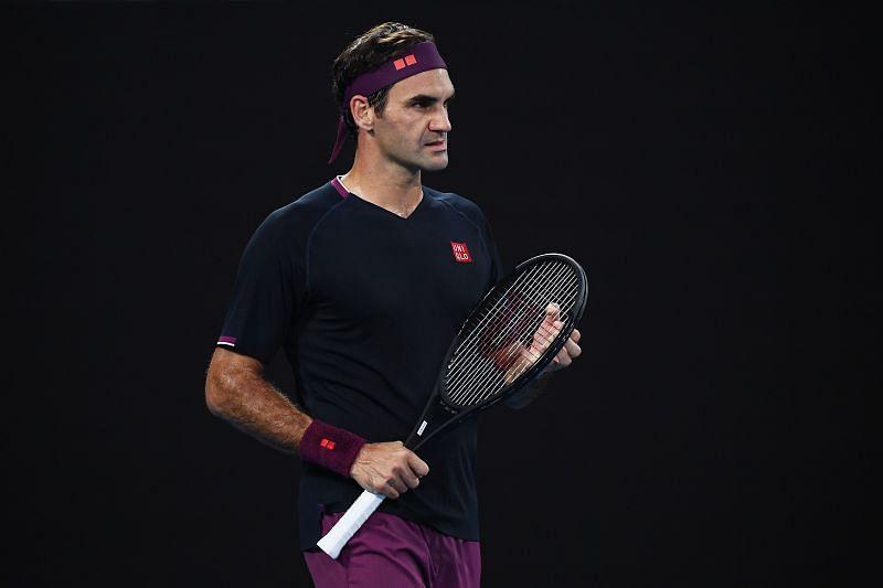 Roger Federer looks on at the 2020 Australian Open