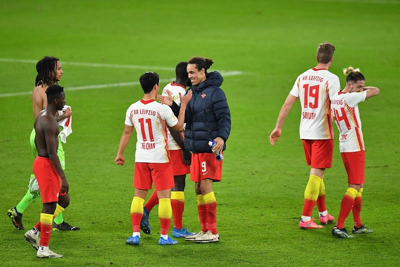 The RB Leipzig players celebrate