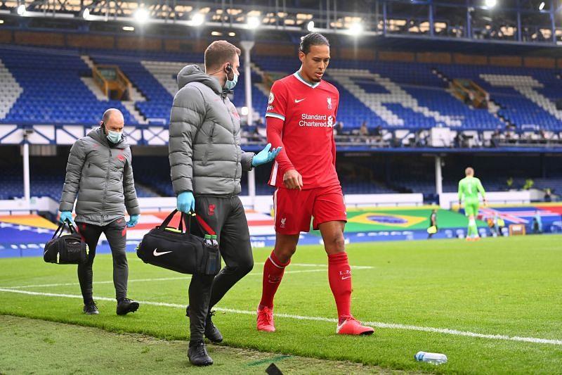 Van Dijk was injured in the Merseyside derby