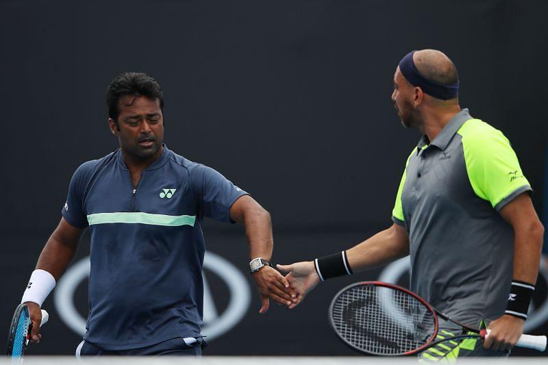 Leander Paes and Purav Raja at the 2018 Australian Open in Melbourne, Australia