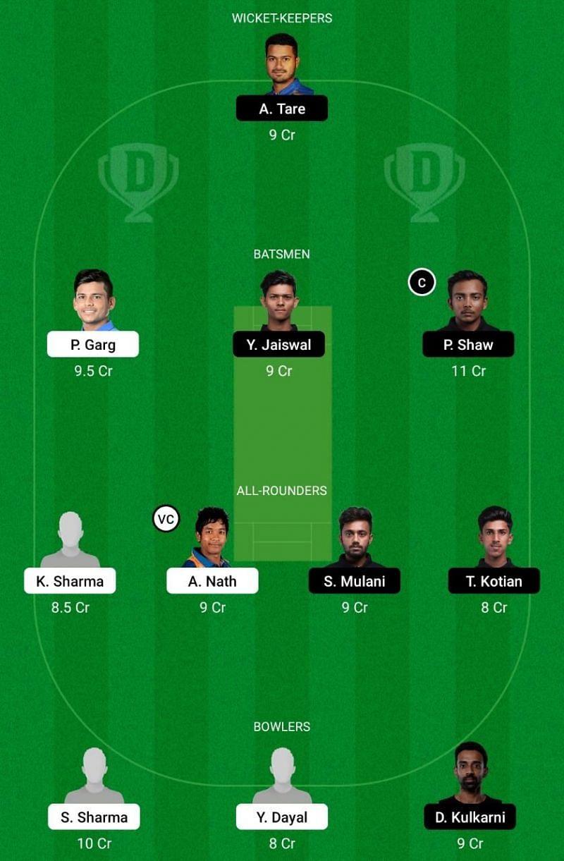 UP vs Mumbai Dream11 Team