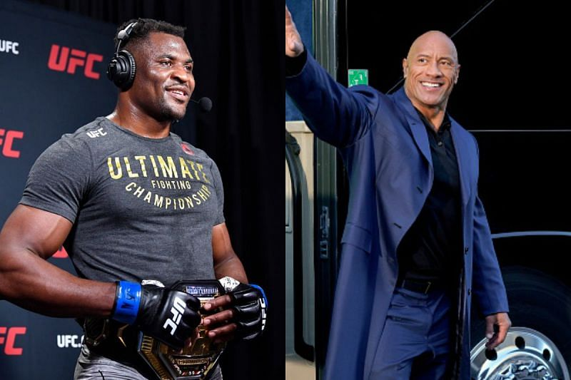 Francis Ngannou (L) and The Rock (R)