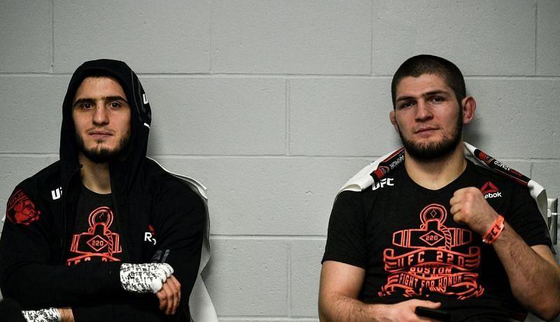 Islam Makhachev (left); Khabib Nurmagomedov (right)