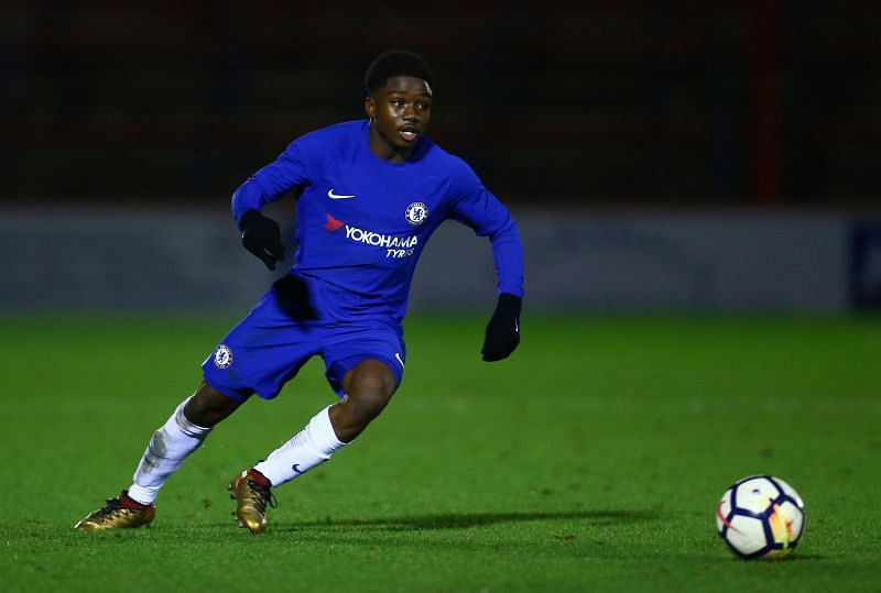 Tariq Lamptry playing in an FA Youth Cup tie for Chelsea in 2018