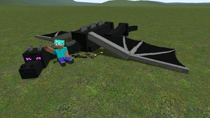 Steve and Ender Dragon (Image via YouTube)