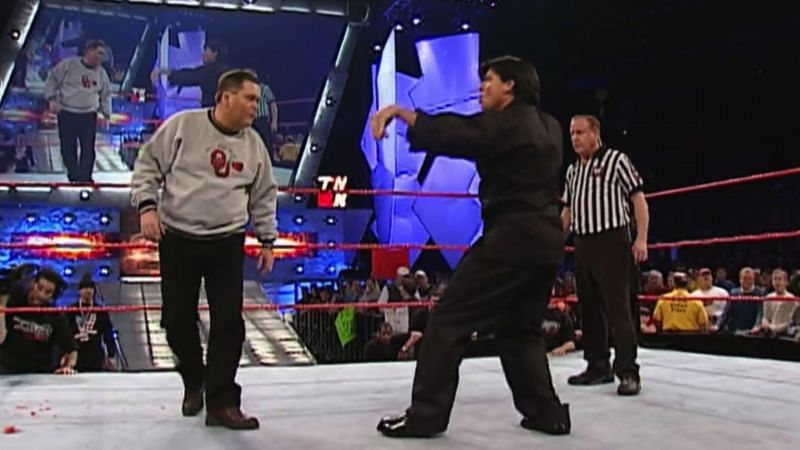 Eric Bischoff faced off against RAW commentator Jim Ross during his feud with Stone Cold Steve Austin
