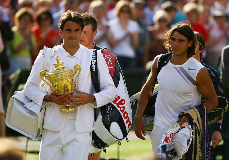 Roger Federer and Rafael Nadal at Wimbledon 2007