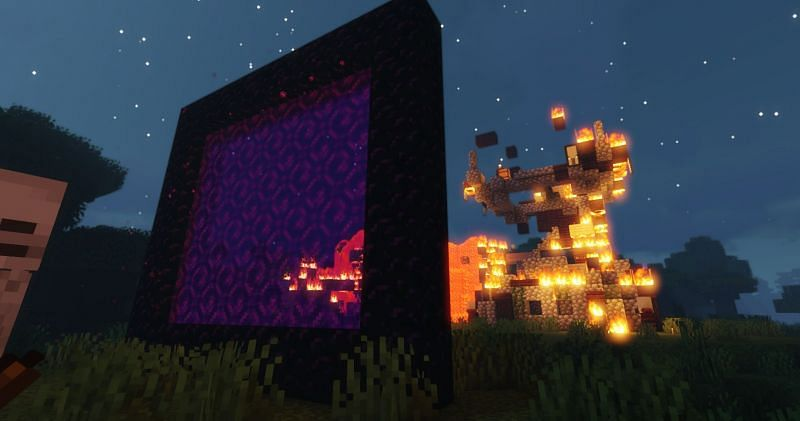Shown: A giant Nether portal.  Ignore the carnage in the background ... (Image via Minecraft)