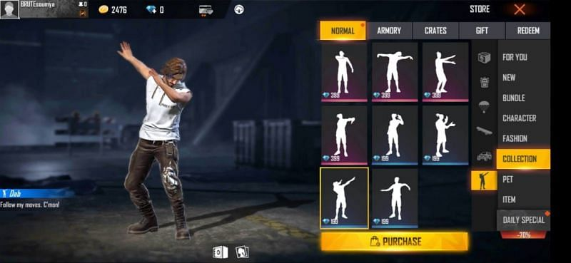 Dab emote in Free Fire