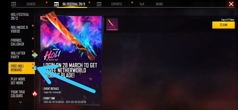 Select the Holi Free Reward event and then claim the skin for free