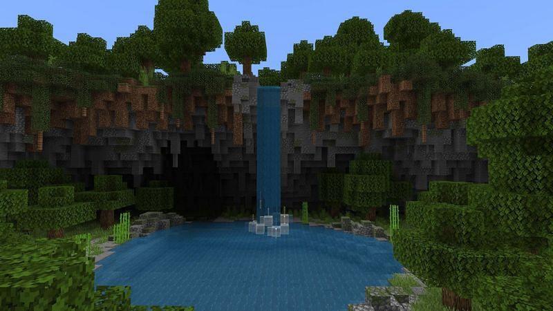 Minecraft terraformed cave and cliff (Image via u/TheRedEngine on Reddit)