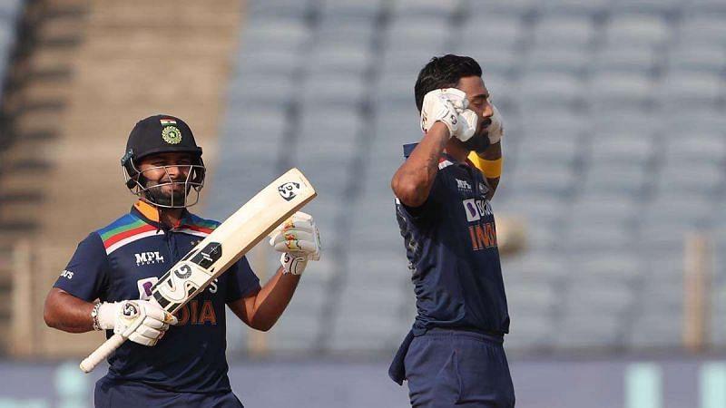 KL Rahul (R) celebrates after reaching fifth ODI hundred