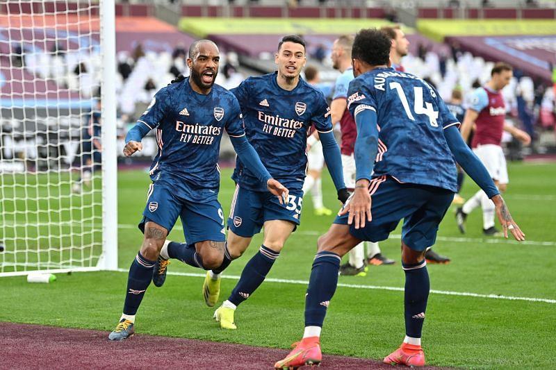 Alexandre Lacazette celebrates after scoring Arsenal