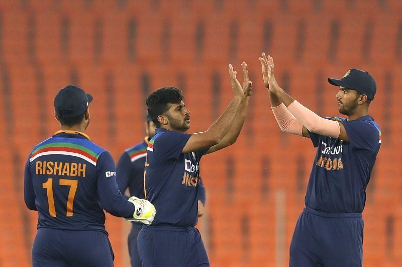 Shardul Thakur celebrates a wicket. Pic: BCCI