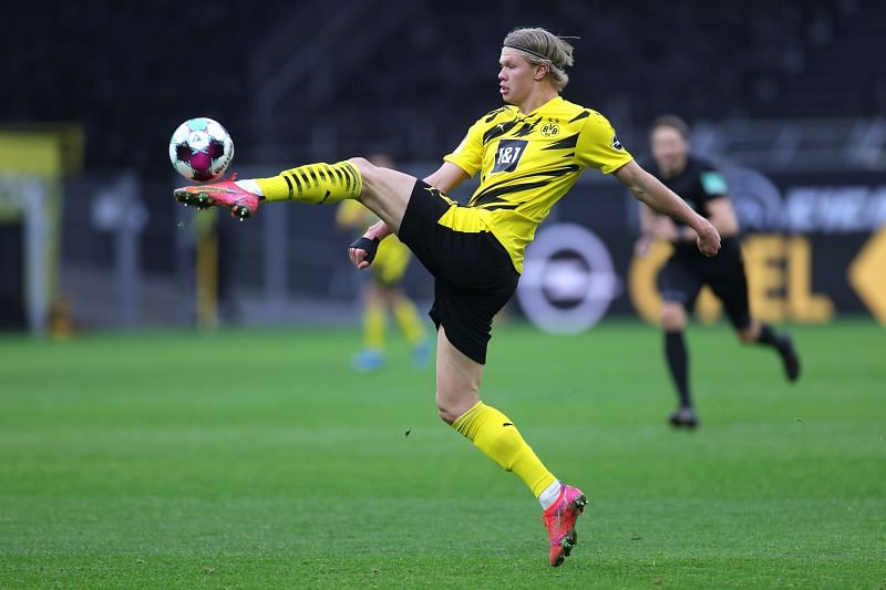 Erling Haaland in action for Borussia Dortmund