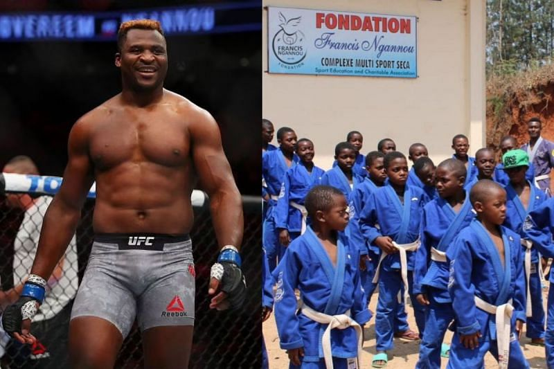 Francis Ngannou shares a moment with the students of his Foundation [Image credit: Francis Ngannou