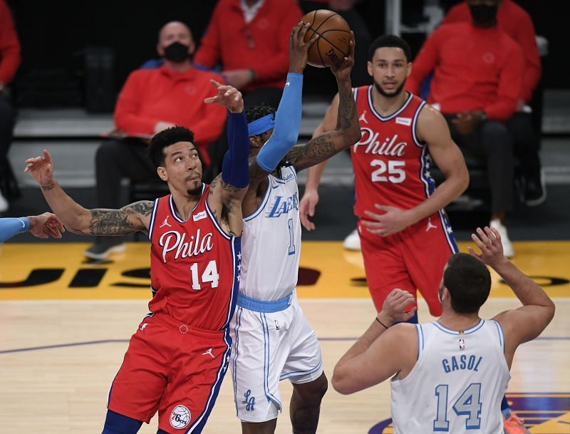 Danny Green of the Philadelphia 76ers in NBA action against the LA Lakers