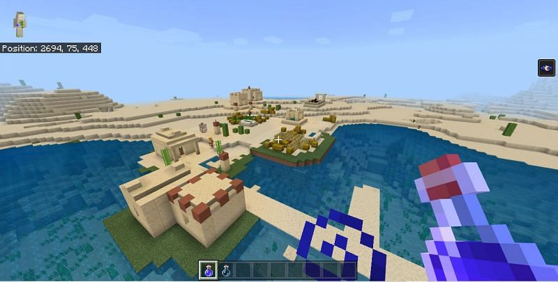 Features like sunken homes and ships(Image via Mojang)